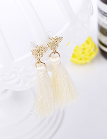Bohemia Beige Butterfly Shape Decorated Tassel Earrings
