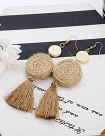 Bohemia Brown Round Shape Decorated Tassel Earrings