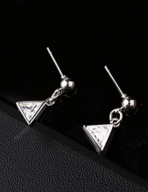 Elegant Silver Color Triangle Shape Diamond Decorated Earrings (A006)