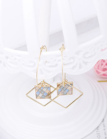 Elegant Blue Square Shape Decorated Earrings
