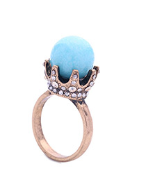 Vintage Blue Crown Shape Decorated Ring