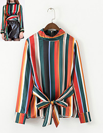 Elegant Multi-color Color-matching Decorated Blouse