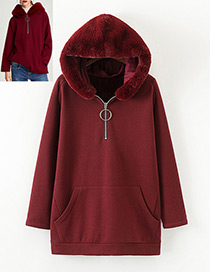 Fashion Dark Red Pure Color Decorated Hoodie