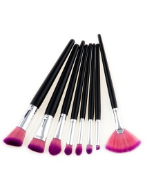 Fashion Pink+purple Fan Shape Decorated Brushes (8pcs)