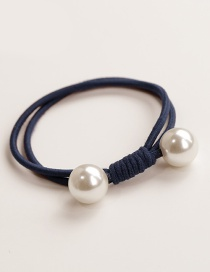 Elegant Navy Double Round Decorated Hair Band
