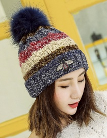 Trendy Navy Little Bee Decorated Thicken Cap