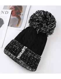 Trendy Black Letter Pattern Decorated Knitted Cap