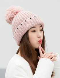 Trendy Pink Beads Decorated Pure Color Thicken Cap