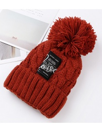 Trendy Dark Red Embroidered Love Decorated Knitted Cap