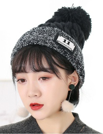 Trendy Black Letter 11 Pattern Decorated Knitted Cap