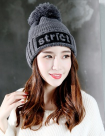Fashion Gray Letter Shape Decorated Cap