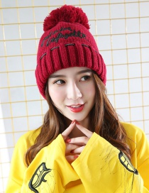 Fashion Claret-red Letter Shape Decorated Cap