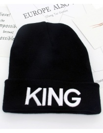 Fashion Black+white King Letter Decorated Cap