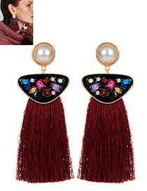 Exaggerated Claret-red Geometric Shape Diamond Decorated Tassel Earrings