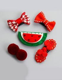 Lovely Red Watermelon Shape Decorated Hairpin (5pcs)