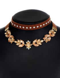 Vintage Brown Rivet Shape Decorated Double Layer Choker
