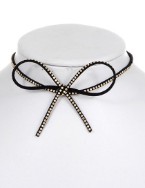 Elegant Gold Color Bowknot Shape Decorated Choker