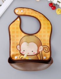Fashion Brown Monkey Pattern Decorated Bib