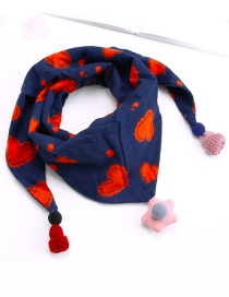 Fashion Navy+red Heart Pattern Decorated Scarf