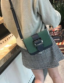 Fashion Green Square Shape Decorated Shoulder Bag