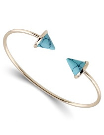 Fashion Blue Triangle Shape Decorated Opening Bracelet