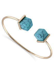 Fashion Blue Square Shape Decorated Opening Bracelet