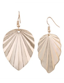 Fashion Gold Color Metal Leaf Shape Decorated Earrings