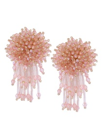 Fashion Pink Pure Color Decorated Tassel Earrings