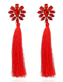 Fashion Red Tassel Decorated Earrings