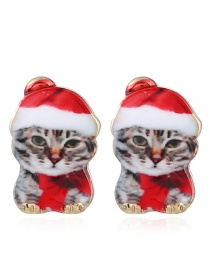 Fashion Multi-color Cat Shape Decorated Earrings