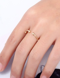 Fashion Gold Color Bead Shape Decorated Ring