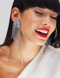 Elegant Silver Color Round Shape Diamond Decorated Tassel Earrings
