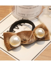 Fashion Light Coffee Pearl Decorated Hair Band