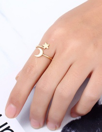 Fashion Gold Color Star&moon Shape Decorated Ring