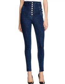 Fashion Blue Buttons Decorated Jeans