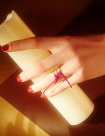 Fashion Gold Color+red Bandage Decorated Ring