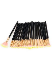 Fashion Black+pink+yellow Sector Shape Decorated Makeup Brush ( 20 Pcs)