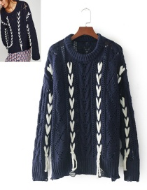 Fashion Navy+white Color Matching Decorated Sweater