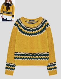 Fashion Yellow Color Matching Decorated Sweater
