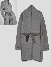 Fashion Gray Pure Color Decorated Jacket