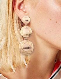 Fashion Gold Color Round Shape Decorated Long Earrings