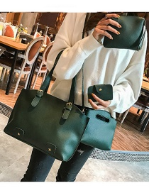 Fashion Green Rivet Decorated Handbag ( 4 Pcs )