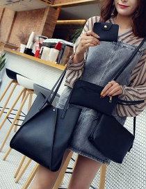 Fashion Black Pure Color Decorated Handbag ( 4 Pcs)