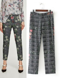 Fashion Gray Flower Pattern Decorated Trousers