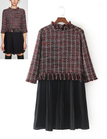 Fashion Red+black Grid Pattern Decorated Dress