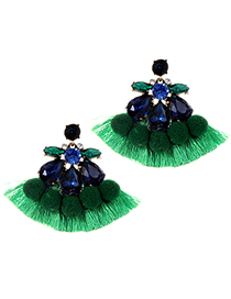 Fashion Green Ball&tassel Decorated Pom Earrings