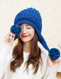 Fashion Blue Fuzzy Ball Decorated Hat