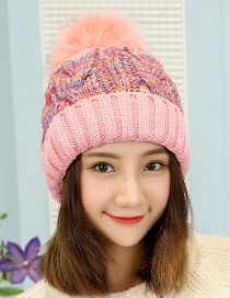 Fashion Pink Pom Ball Decorated Hat