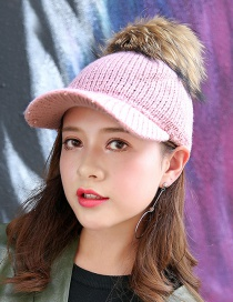 Fashion Pink Fuzzy Ball Decorated Cap