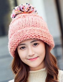 Fashion Pink Fuzzy Ball Decorated Hat